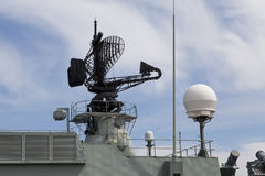 Warship. Grey Warship with a Radar stock photos