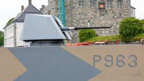 Warship gun. BERGEN / NORWAY June 25, 2016. Norway crown family visit to Bergen. Security Royalty Free Stock Images