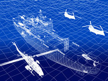 Warship with helicopter 3d wire frame on water Stock Photography