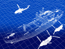 Warship with helicopter 3d wire frame on water Royalty Free Stock Image