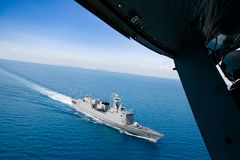 Warship helicopter view. Grey modern warship helicopter view Stock Photography