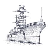 Warship with a high mast. Cargo ship. Warship with a high mast. Vector illustration Royalty Free Stock Photos