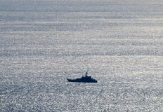 Warship. In the Kerch Strait stock photography