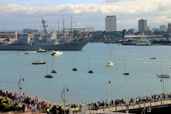 Warship leaving Portsmouth Harbour Royalty Free Stock Photos