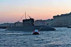 St. Petersburg, Russia, July 29, 2018. Submarine `Dmitrov` at the parade in honor of the Navy on the Neva River. stock photos