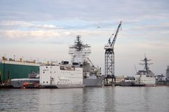 Warship in Naval Station Norfolk, Virginia Royalty Free Stock Images