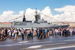 Warship on the Neva river for Navy day celebration on July 31, 2 Stock Photos