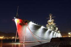 Warship at night Royalty Free Stock Photography