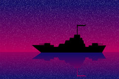 Warship at night. Silhouette of warship at night Stock Images