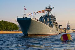 The warship. The picture of the Russian warship in Saint Petersburg stock images
