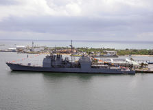 Warship in port. Modern navy warship visiting Fort Lauderdale, Florida royalty free stock photography