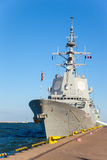 Warship in port. Warship in a sunny day in port of Gdynia, Poland stock photos