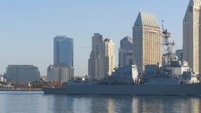 Warship sails in San Diego City
