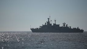 Warship on the Sea