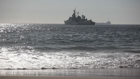 Warship on the Sea stock video