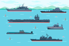 Warship set in flat style. Boat transport, speedboat and hovercraft, transportation vessel. Vector illustration Stock Photo