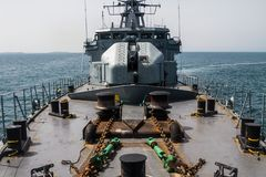WARSHIP - The ship patrol in the sea. - Image. Warship patrol and protect in the sea royalty free stock image