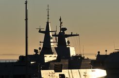 Warship Superstructure. Warship with metal superstructure and radar equipment in Simonstown Harbour Stock Photo