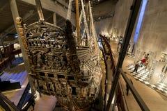 Warship Vasa, Stockholm. Stern of warship Vasa that sunk in 1628 in the world famous Vasa museum in Djurgarden (Swedish: Djurgården) Stockholm, Sweden Royalty Free Stock Image