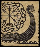 Warship of the Vikings. Drakkar, ancient scandinavian pattern and norse runes. Isolated on white, vector illustration royalty free illustration