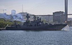 Warship in Vladivostok town. Russia Stock Photography