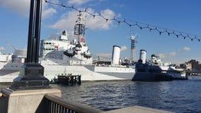 Warship. On Thames Royalty Free Stock Photo