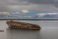 Warship wreck near Weddell Bay in Orkneys, Scotland. Stock Image