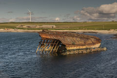 Warship wreck near Weddell Bay in Orkneys, Scotland. Royalty Free Stock Image