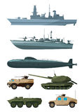 Warships and armored vehicles of land forces. Military transport support. Army marine transport, warship and land vehicle machine illustration Royalty Free Stock Images