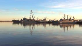 Warships of the Baltic fleet in the Harbor, June twilight. Kronstadt, Russia stock footage