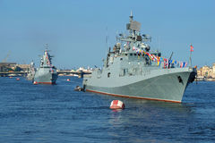 Warships of the Baltic fleet of the Russian Navy in the waters of the Neva. Navy day in St. Petersburg Royalty Free Stock Image