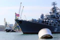 Warships in the Black Sea in Sevastopol, Ukraine. Warships in the Black Sea in the Crimean port of Sevastopol, Ukraine Royalty Free Stock Images
