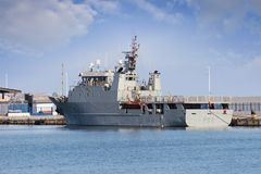 Warships docked in the port of Cartagena in Spain. Royalty Free Stock Photo