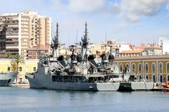 Warships docked in the port of Cartagena in Spain. Stock Image