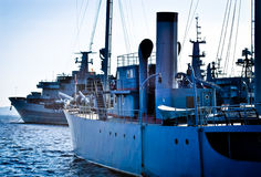 Warships in the dockyard Royalty Free Stock Images