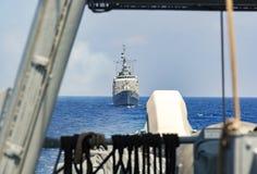 Warships drives in mediterran sea Stock Photo
