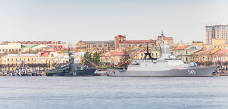 Warships on the Neva in anticipation of military parade Stock Photography