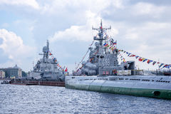 Warships on the Neva river for Navy day celebration, St Petersburg, Russia Royalty Free Stock Photos