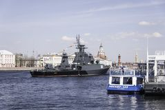 Warships during in parade dedicated to Victory Day, Royalty Free Stock Photos