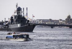 Warships during in parade dedicated to Victory Day, Royalty Free Stock Image