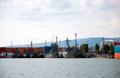 Warships in  port of Novorossiysk Royalty Free Stock Photography