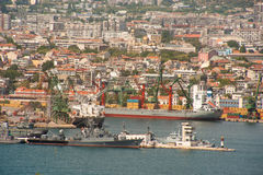 Warships in the seaport of Varna in Bulgaria Stock Images