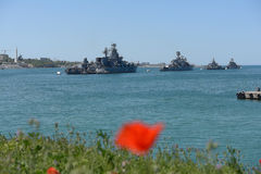 Warships in Sevastopol bay Royalty Free Stock Photography