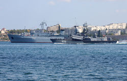 Warships in Sevastopol harbor. Ukrainian Fleet Day and Day of Russian Navy in Sevastopol, Ukraine, 29 of July 2012 Royalty Free Stock Image