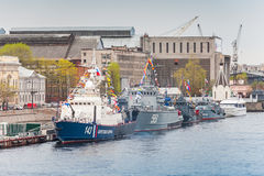 Warships stands on the Neva River Stock Image