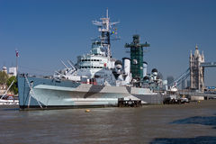Warships on the Thames. The Thames in London and the HMS Belfast Stock Photos