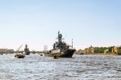 Warships in the waters of the Neva River in St. Petersburg, July Stock Photography