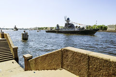 Warships in the waters of the Neva River in St. Petersburg at th Stock Photos
