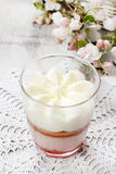 Warstwa truskawkowy deser z batożącą kremową polewą Obraz Stock