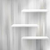 Warstwy Pusty biały drewniany półka na książki. + EPS10 royalty ilustracja